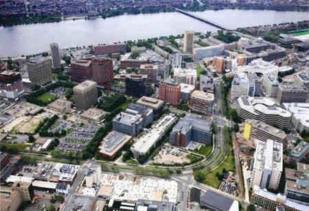 Kendall Square in Cambridge, where life science companies and biomanufacturing buildings near MIT and Harvard continue to proliferate.
